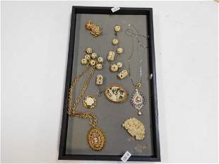 BONE CARVED NECKLACES AND BROOCHES
