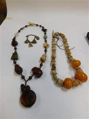 TWO LARGE BEADED NECKLACES