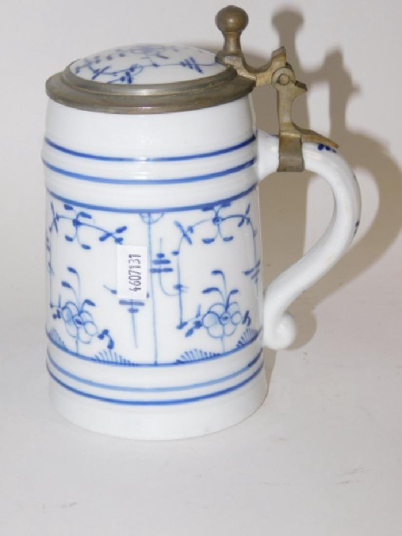 PORCELAIN BLUE AND WHITE BEER STEIN