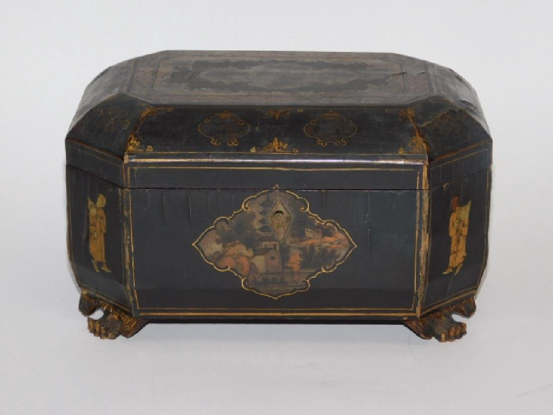 ANTIQUE ORNATE BLACK LACQUERED CHINESE TEA CADDY