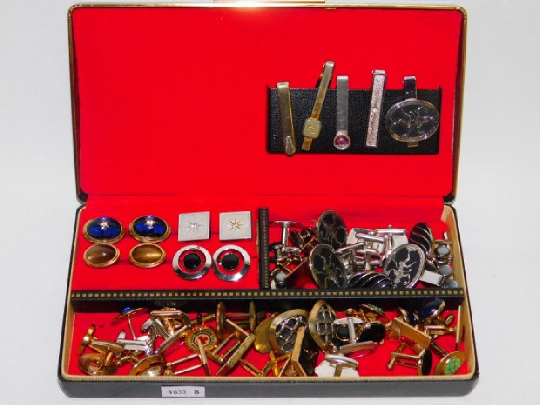 LOT OF TIE CLIPS AND CUFFLINKS WITH BOX