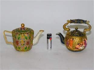TWO MINIATURE DECORATIVE TEA POTS