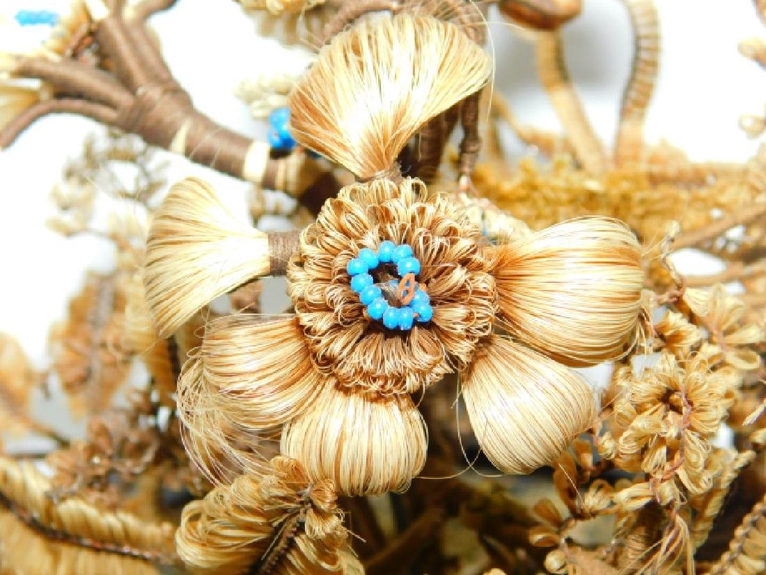 VICTORIAN WOVEN HAIR FLOWER ARRANGEMENT - 6