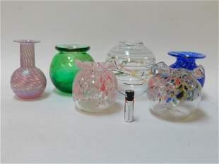 SIX ART GLASS VASES