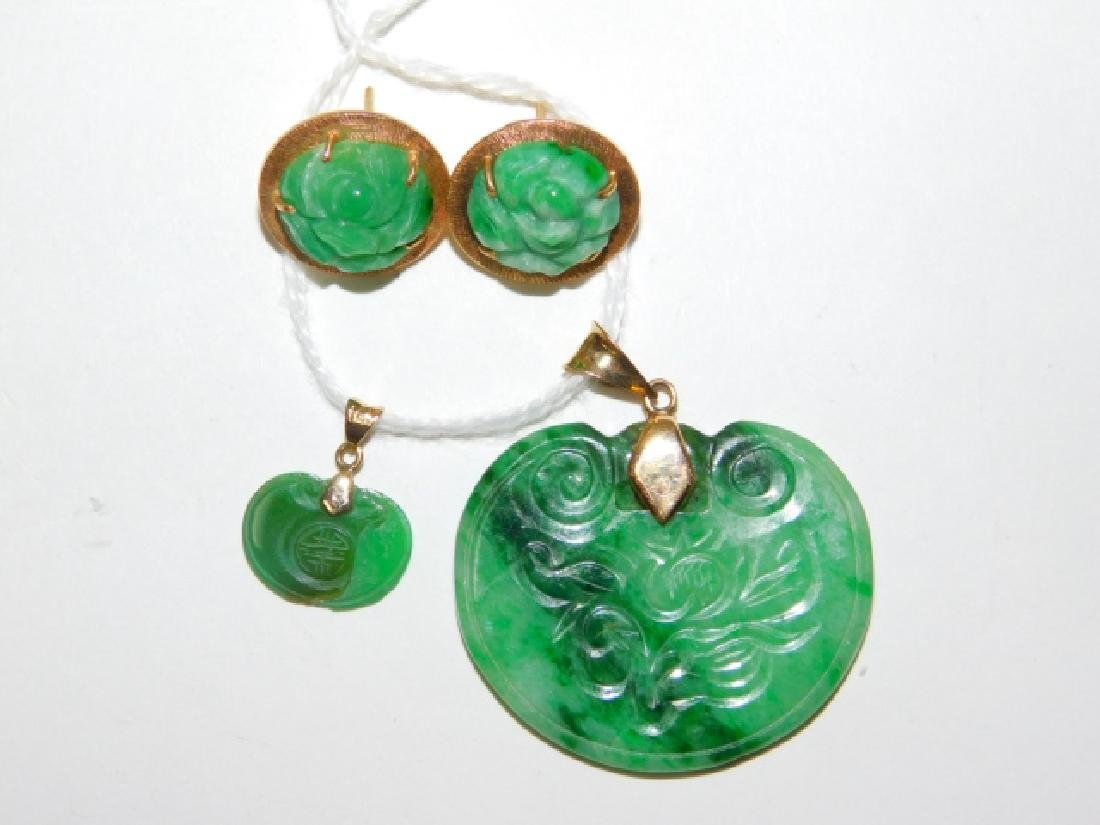 JADE STONE PENDANTS AND EARRINGS