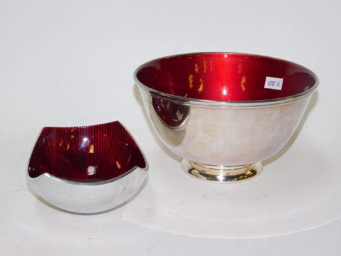 TOWLE ENAMEL AND SILVER PLATE BOWLS