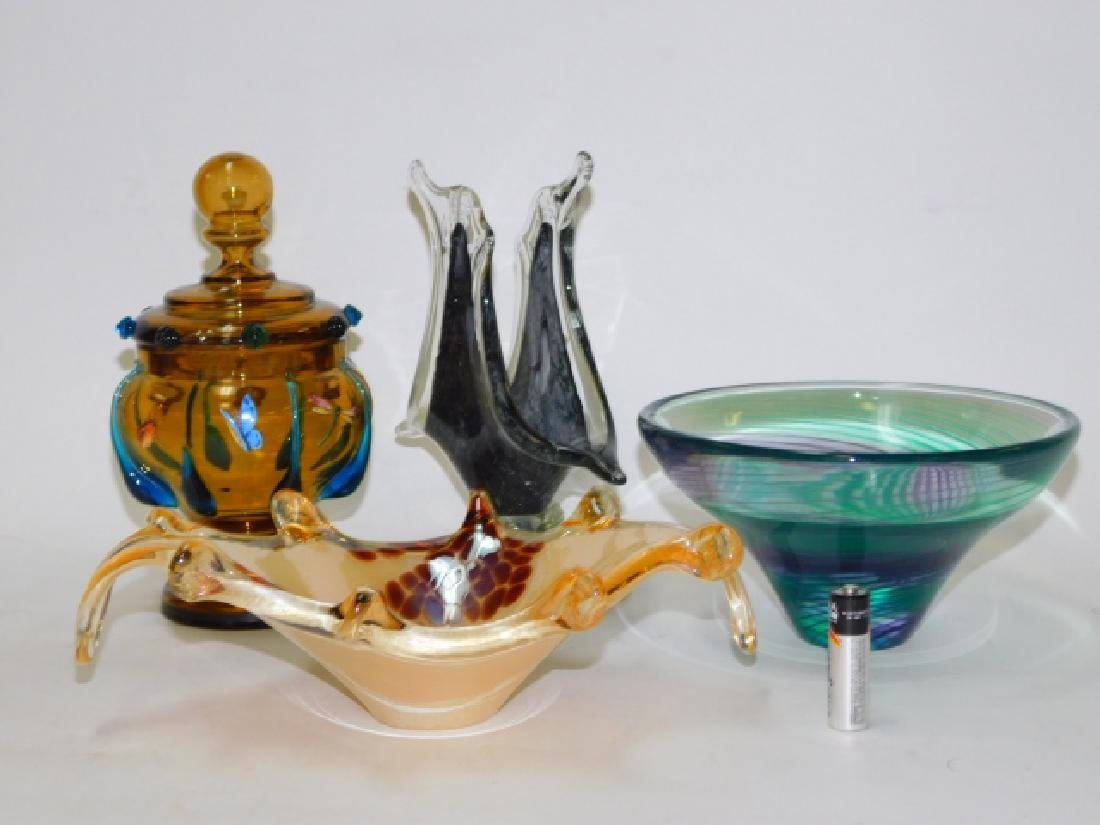MURANO BOWL AND ART GLASS DISHES
