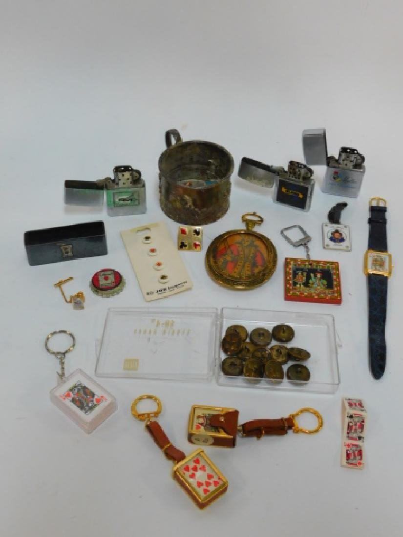PLAYING CARD LIGHTERS, BUTTONS, KEY CHAINS, & MORE