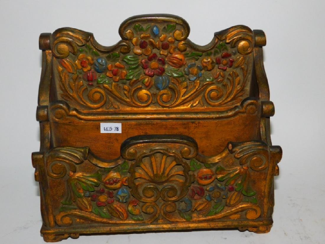 HAND PAINTED WOOD CARVED FILE BOX