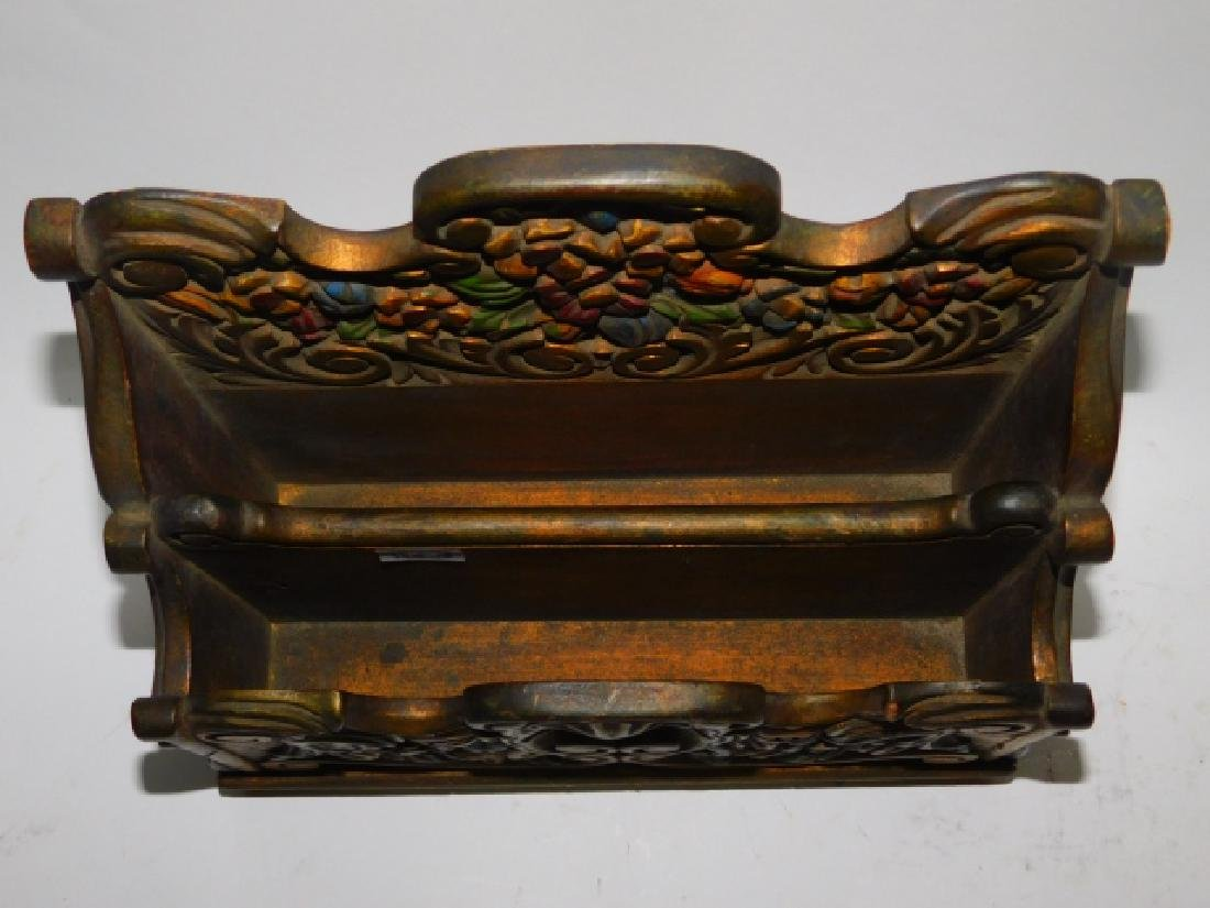 HAND PAINTED WOOD CARVED FILE BOX - 2