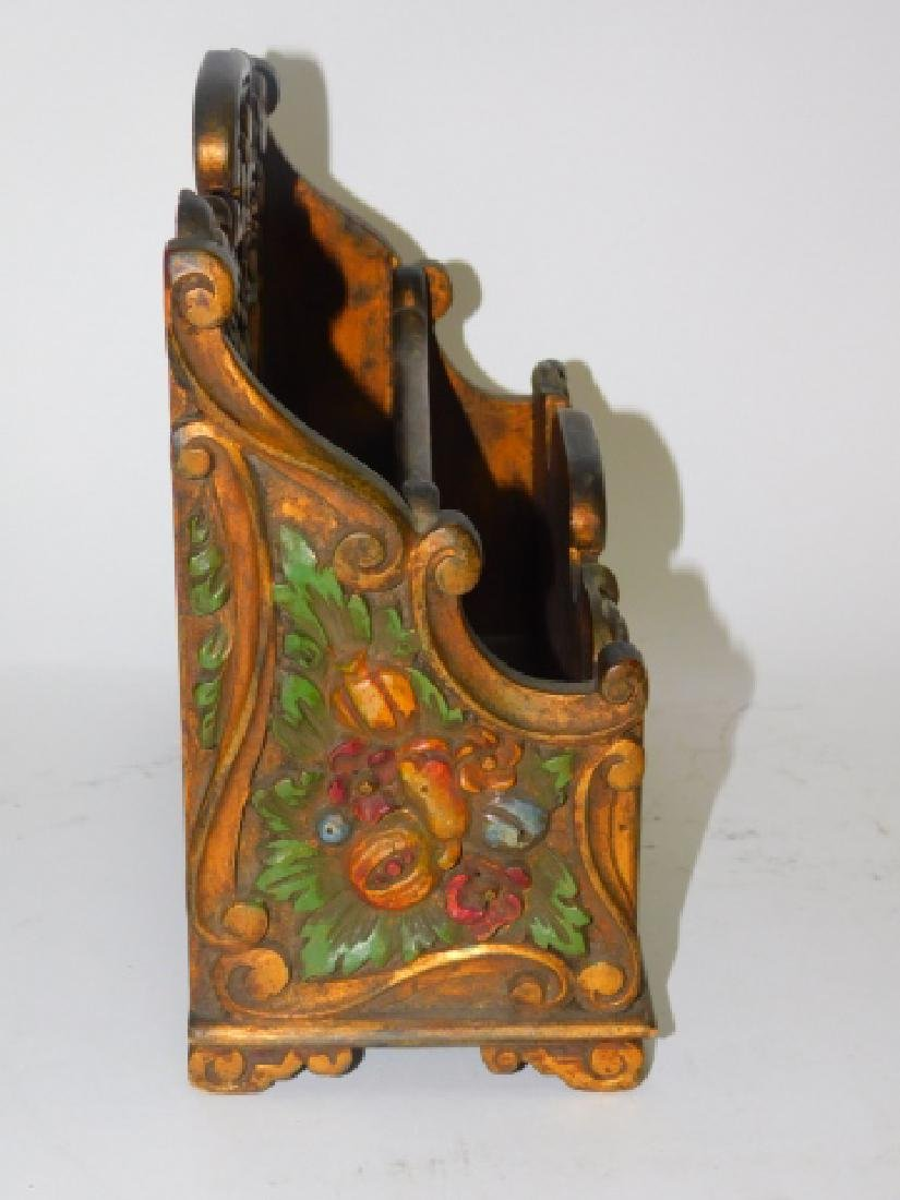 HAND PAINTED WOOD CARVED FILE BOX - 3