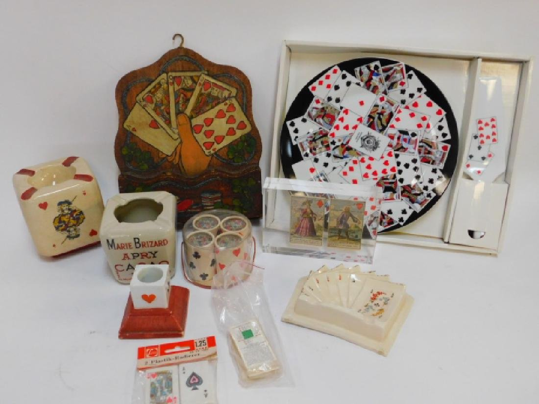 COLLECTION OF CARD THEMED DISHES AND DECORATIONS