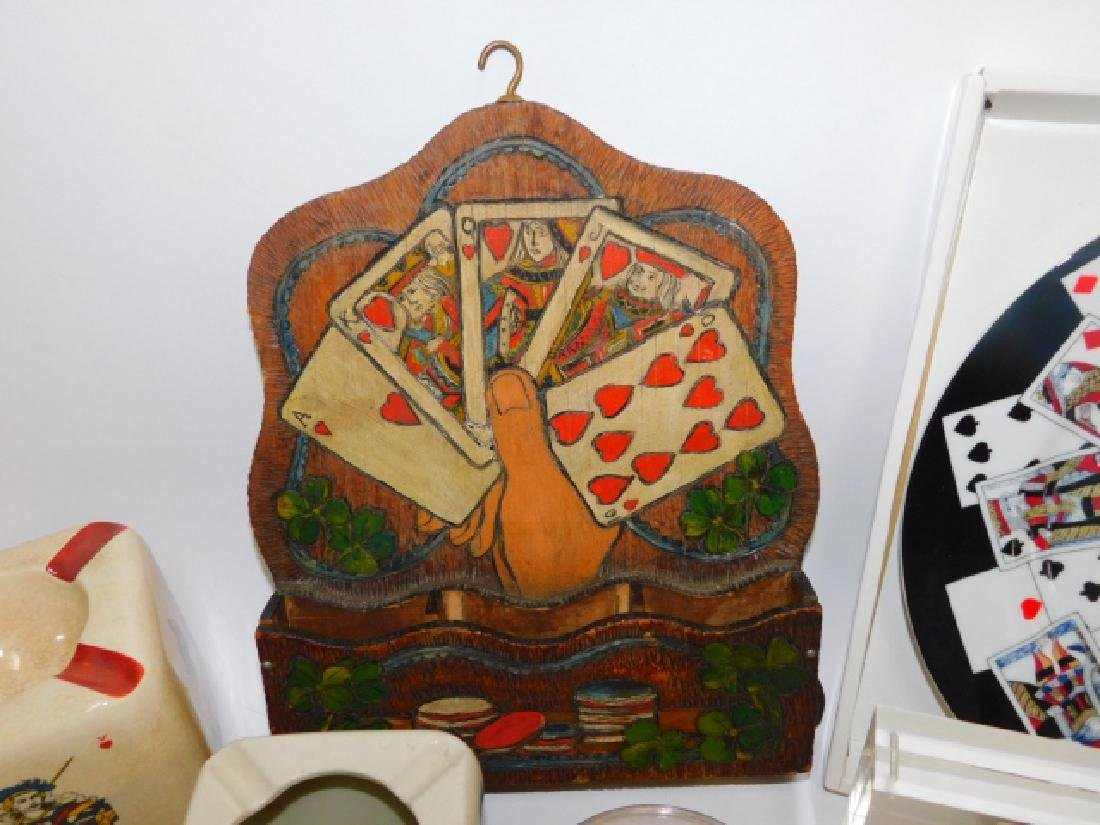 COLLECTION OF CARD THEMED DISHES AND DECORATIONS - 2