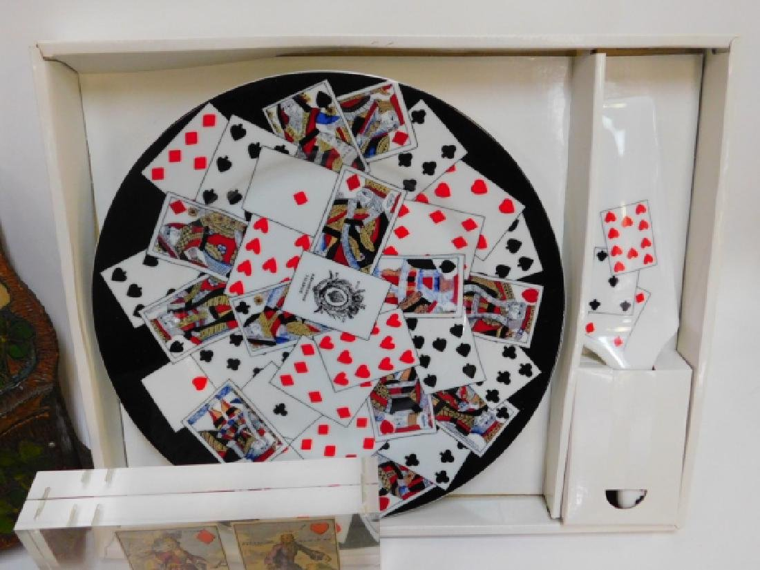 COLLECTION OF CARD THEMED DISHES AND DECORATIONS - 3