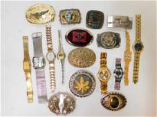 COLLECTION OF BELT BUCKLES AND WATCHES