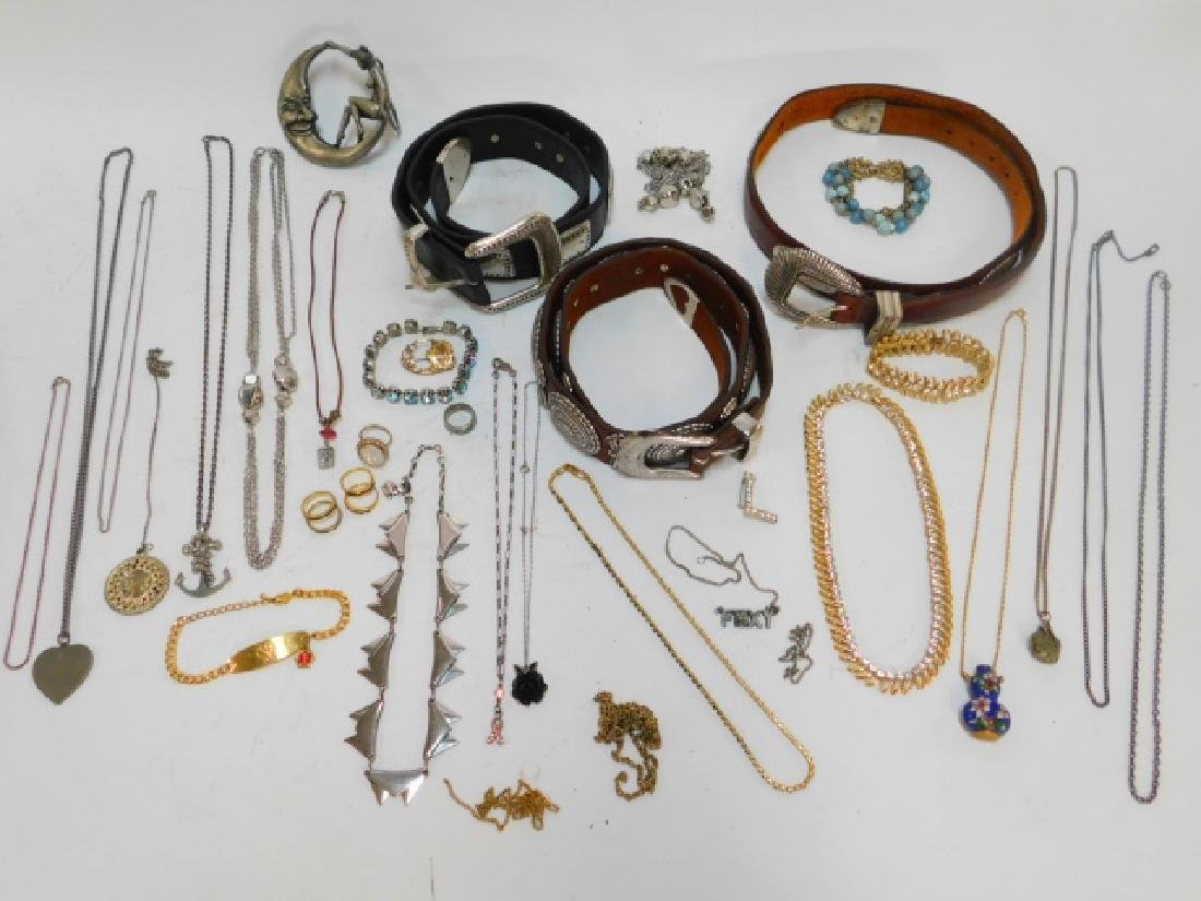 LOT OF COSTUME JEWELRY AND BELTS