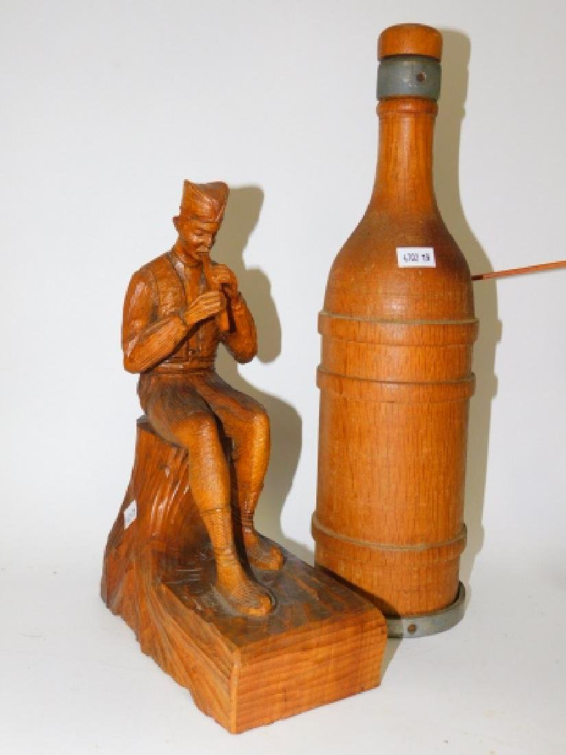 WOOD CARVED FIGURES AND BOTTLE. - 5