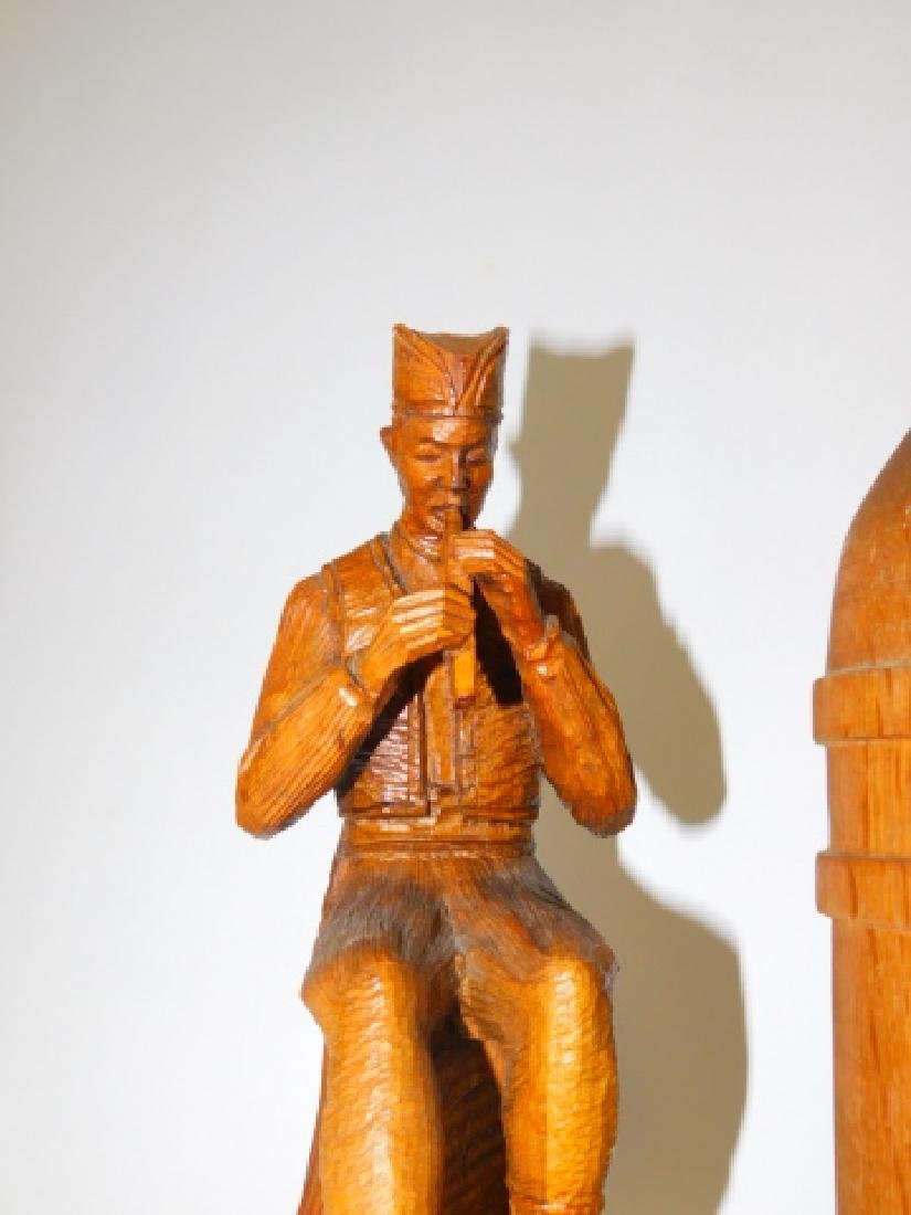 WOOD CARVED FIGURES AND BOTTLE. - 6