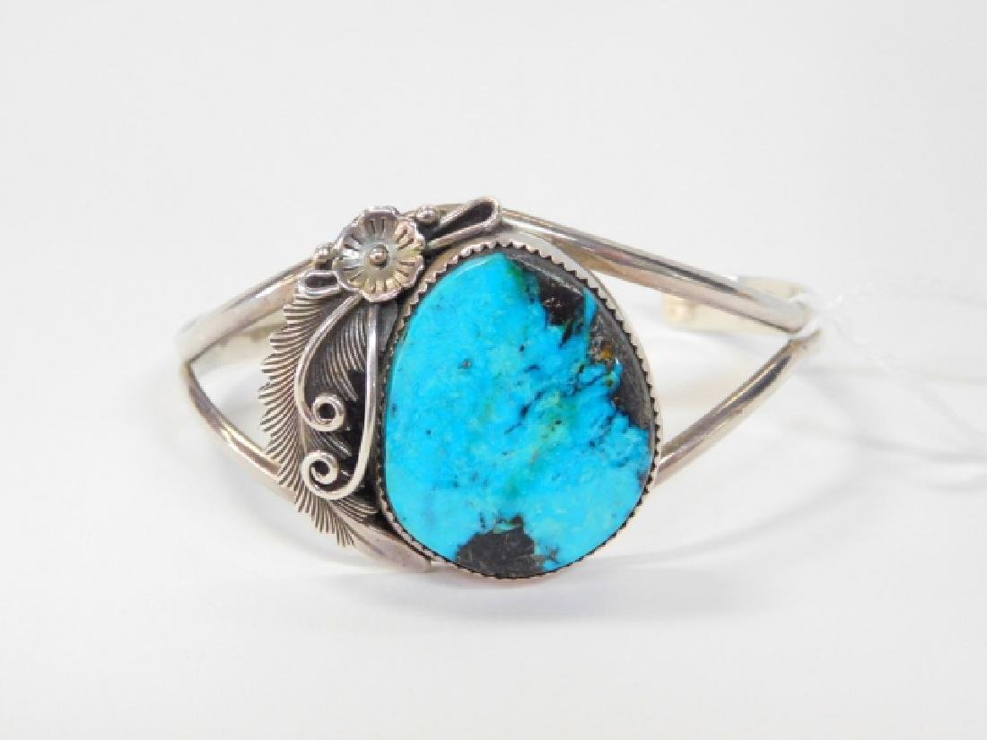 STERLING SILVER CUFF BRACELET WITH TURQUOISE STONE