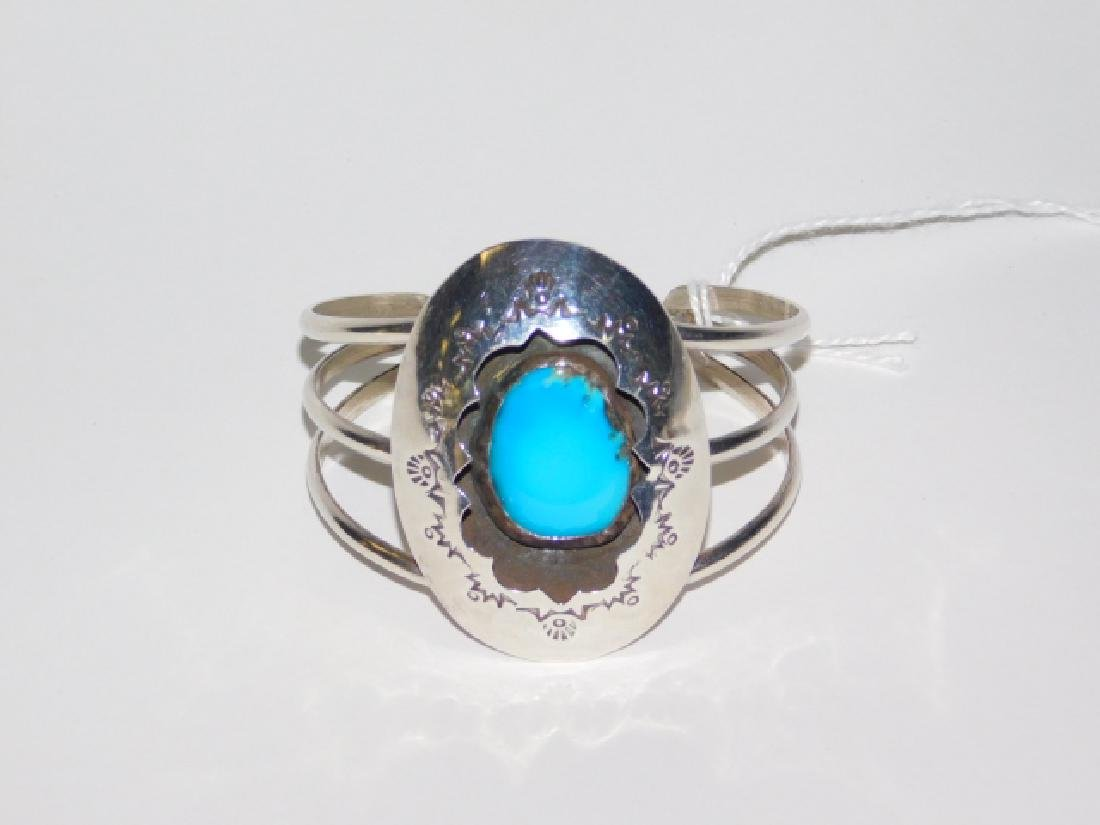 STERLING SILVER CUFF BRACELET WITH TURQUOISE