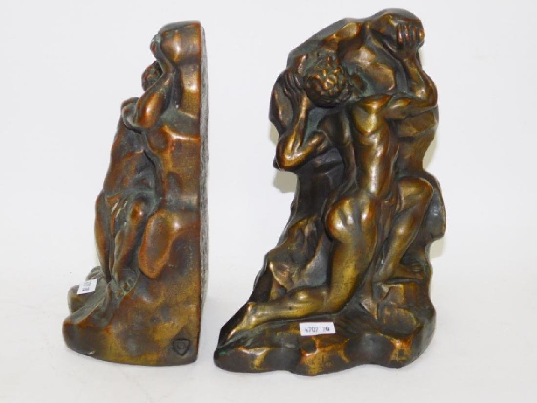 PAIR OF COPPER AND CLAD BOOKENDS
