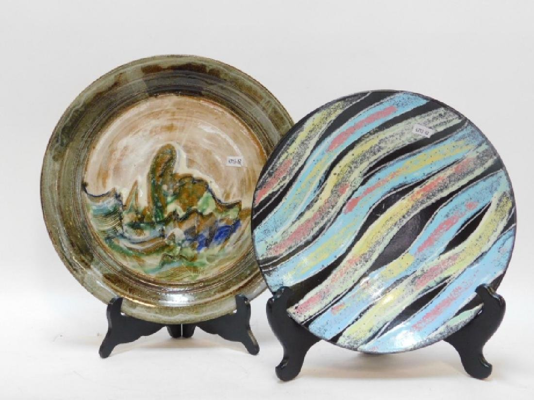 POTTERY ART PLATE AND BOWL
