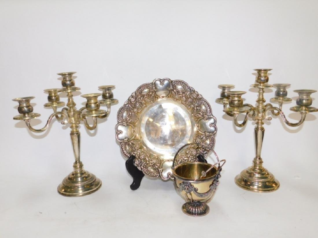 SILVER PLATE CANDLESTICKS AND SERVING PIECES