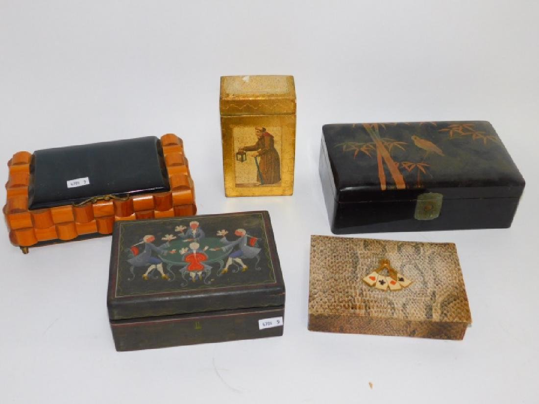 WOODEN & HAND PAINTED PLAYING CARD BOXES