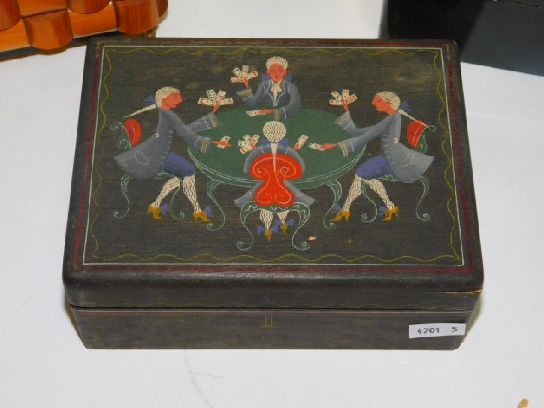 WOODEN & HAND PAINTED PLAYING CARD BOXES - 3