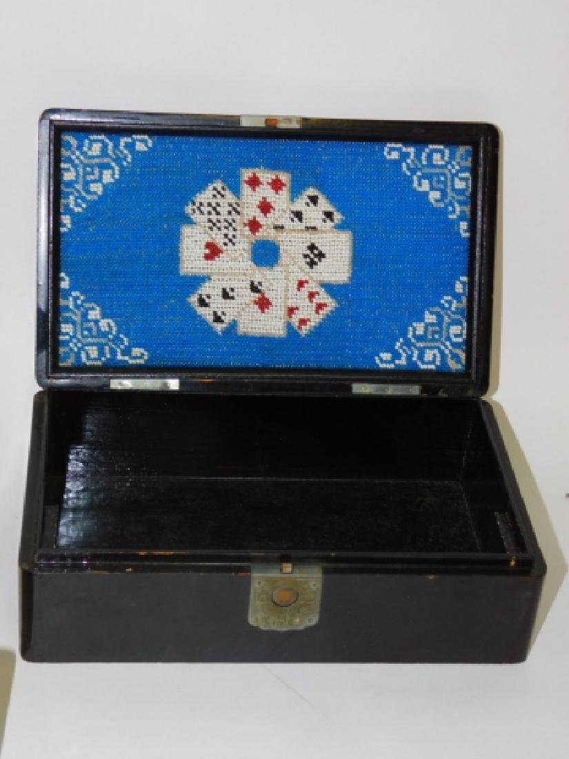 WOODEN & HAND PAINTED PLAYING CARD BOXES - 6