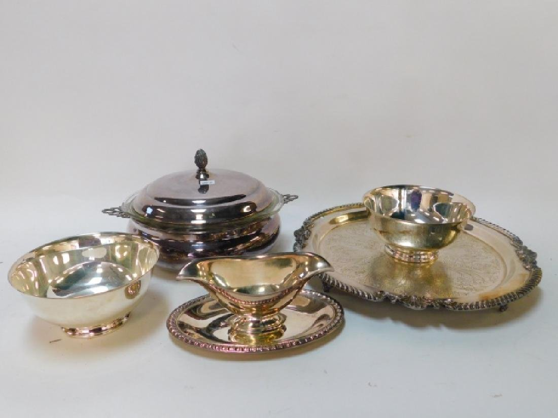 COLLECTION OF SILVER PLATE SERVING DISHES