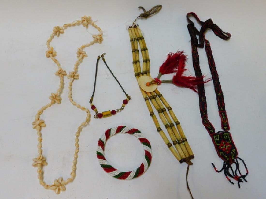 BEADED AND BONE INDIAN NECKLACES.