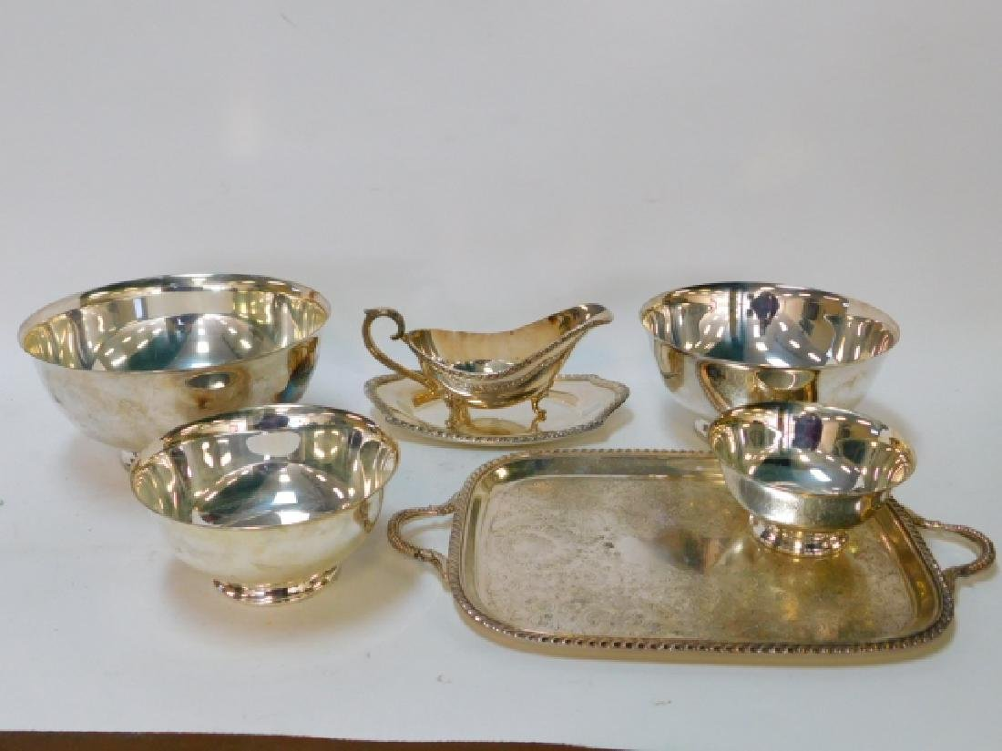 COLLECTION OF SILVER PLATE BOWLS, TRAY, AND MORE