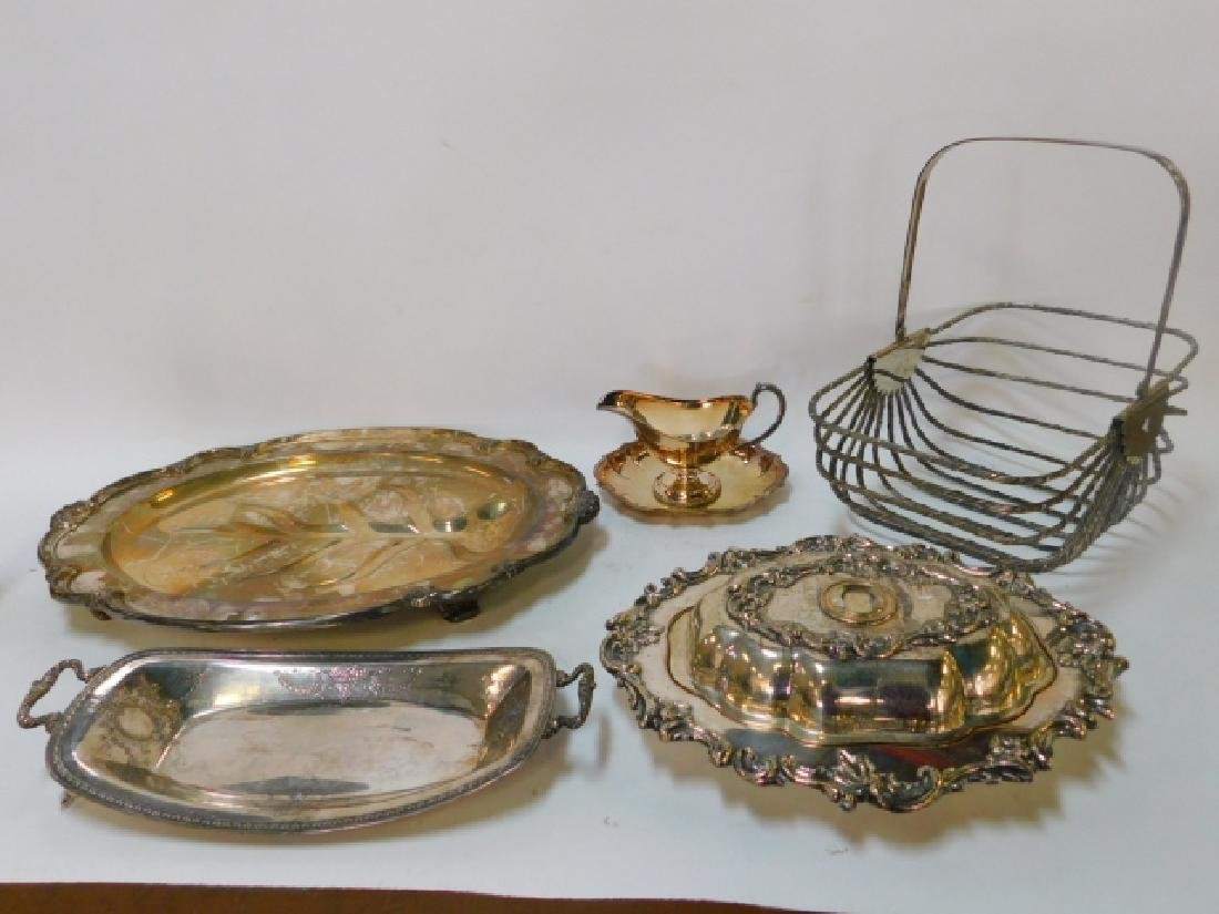 COLLECTION OF SILVER PLATE TRAYS AND MORE