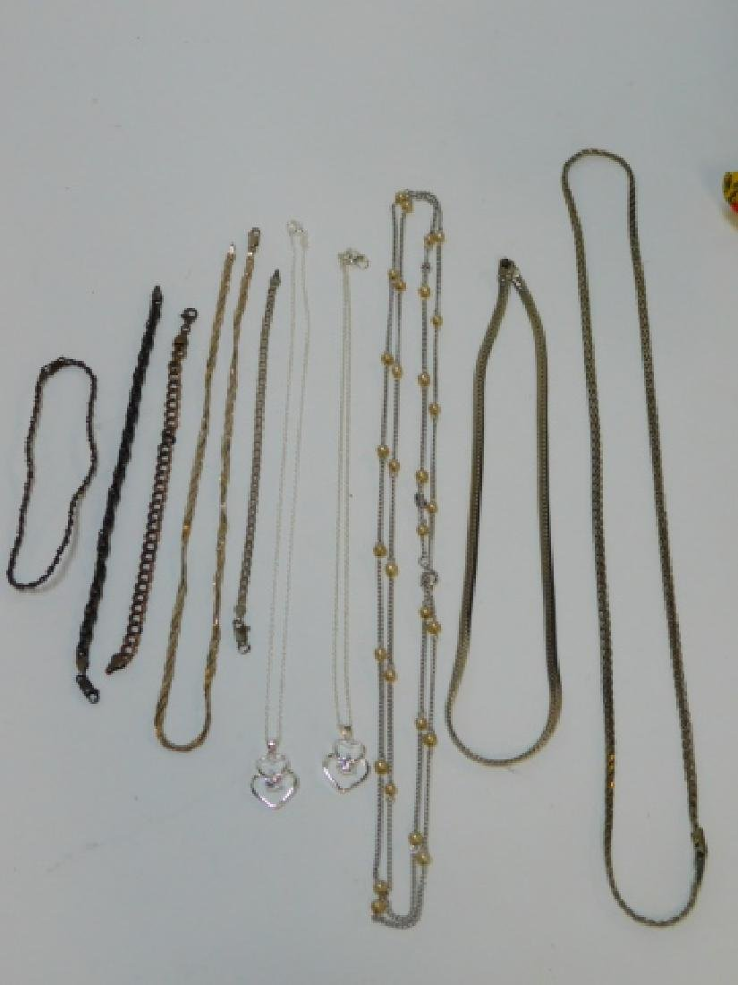 LOT OF STERLING SILVER NECKLACES & BRACELET