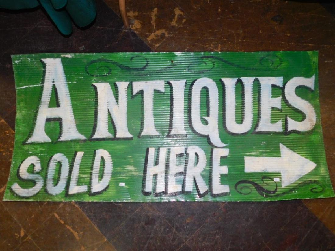 ANTIQUES SOLD HERE, TIN SIGN