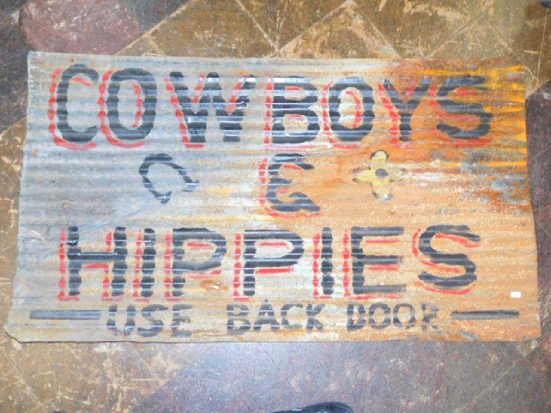 COWBOY'S & HIPPIE'S TIN SIGN