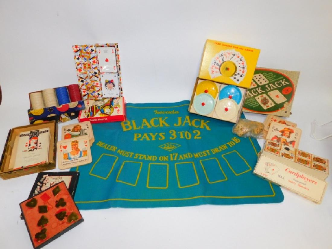 BLACK JACK MAT, POKER CHIPS AND MORE