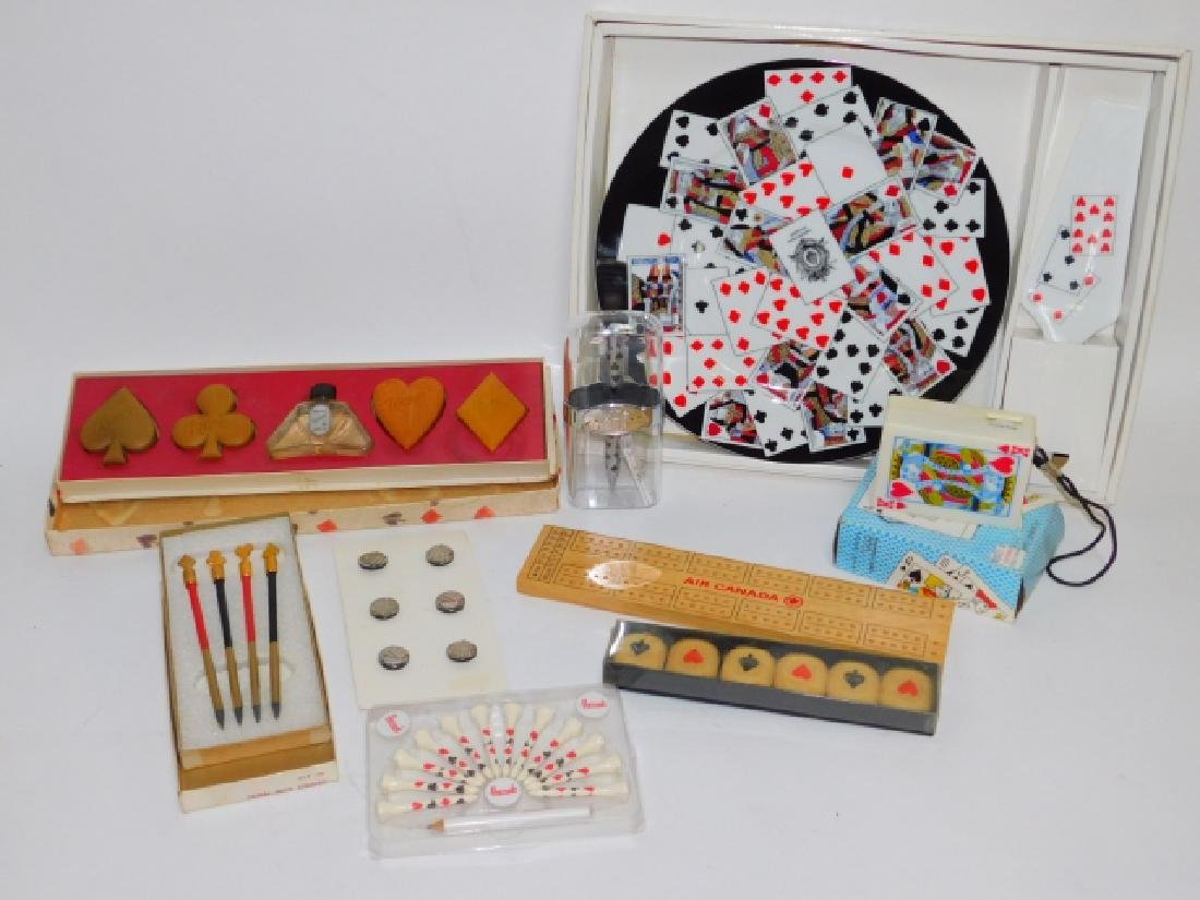 COLLECTION OF PLAYING CARD DISHES, SOAPS, AND MORE