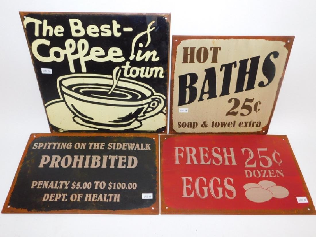 FOUR TIN SIGNS
