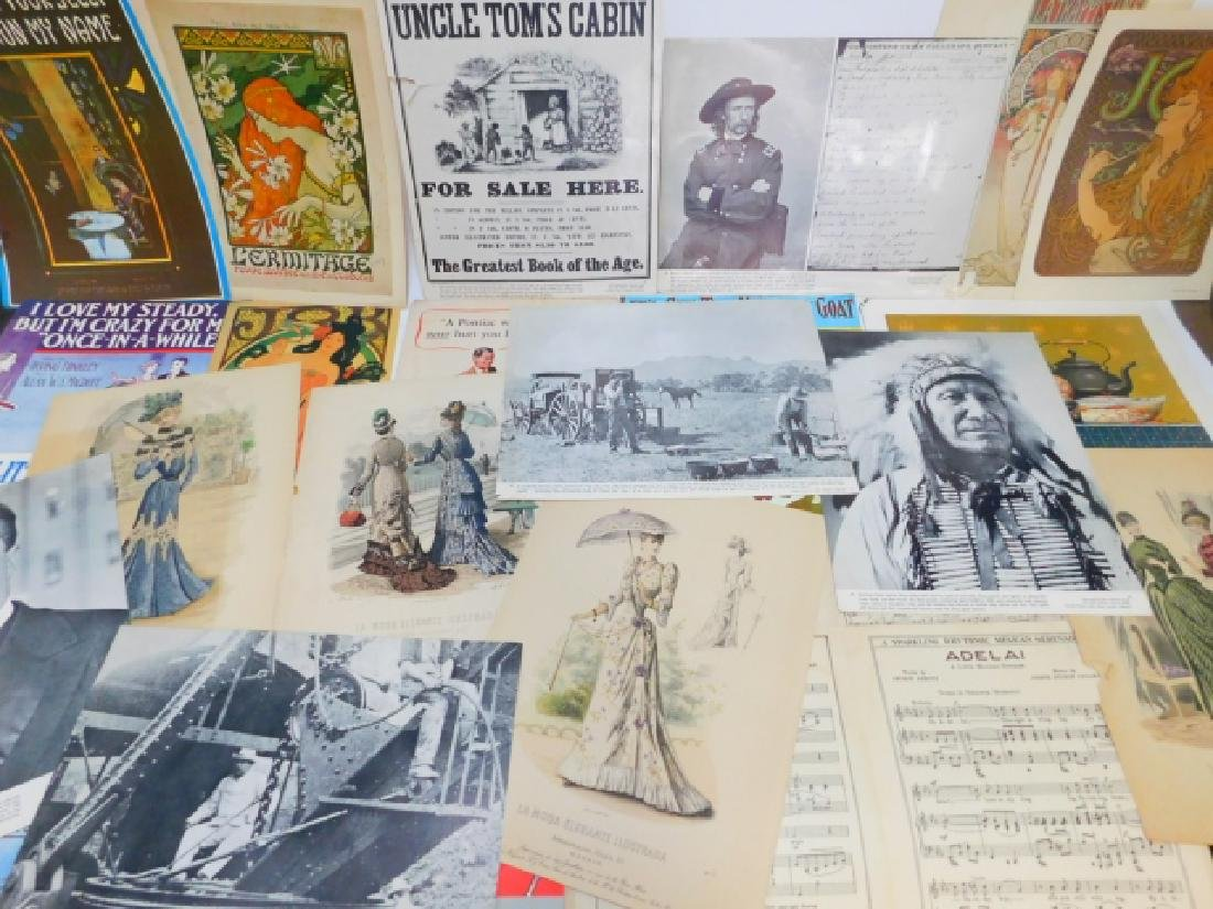 COLLECTION OF PRINTS, ADVERTISEMENTS, MUSIC SHEETS