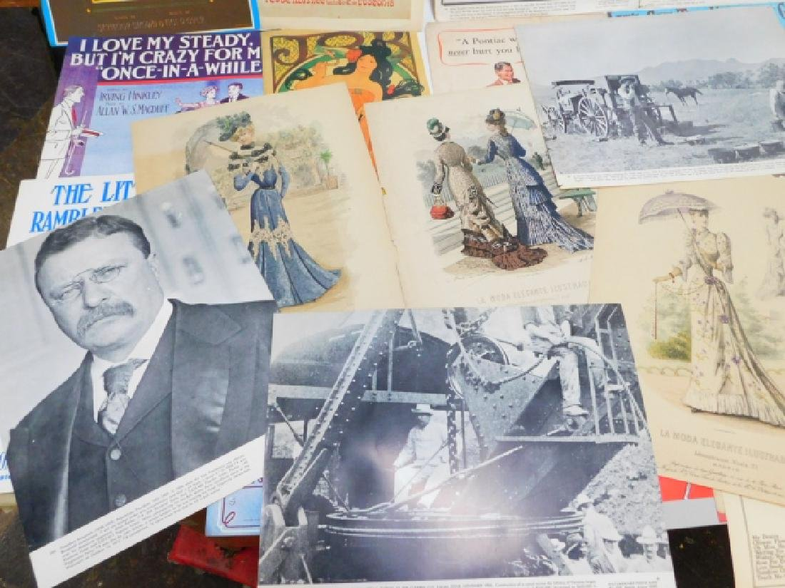 COLLECTION OF PRINTS, ADVERTISEMENTS, MUSIC SHEETS - 2