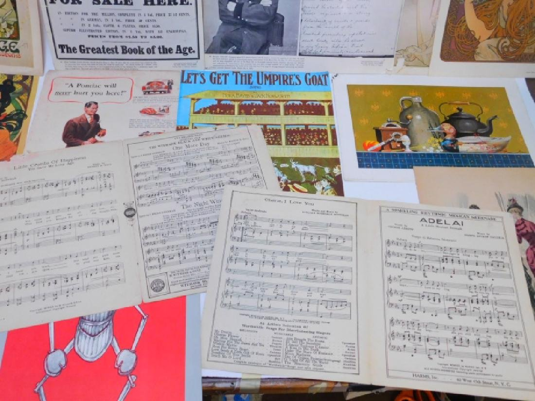 COLLECTION OF PRINTS, ADVERTISEMENTS, MUSIC SHEETS - 9
