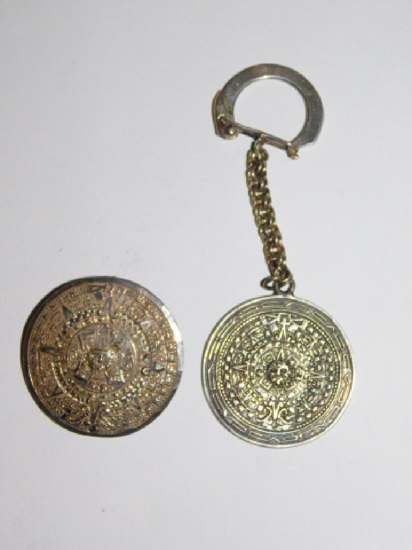 MEXICAN STERLING SILVER PENDANT AND KEY CHAIN - 2