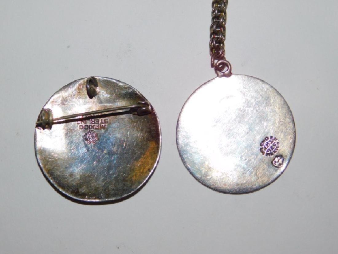 MEXICAN STERLING SILVER PENDANT AND KEY CHAIN - 3