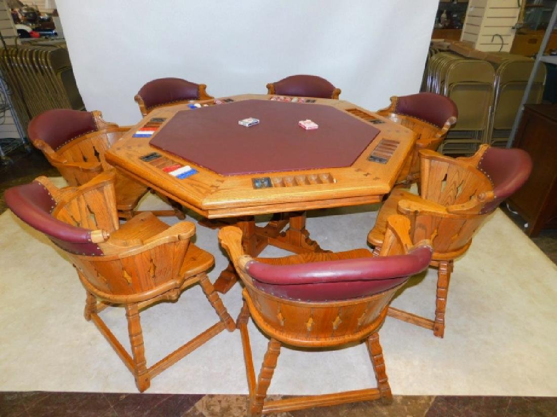 VIKING OAK POKER TABLE AND CHAIRS