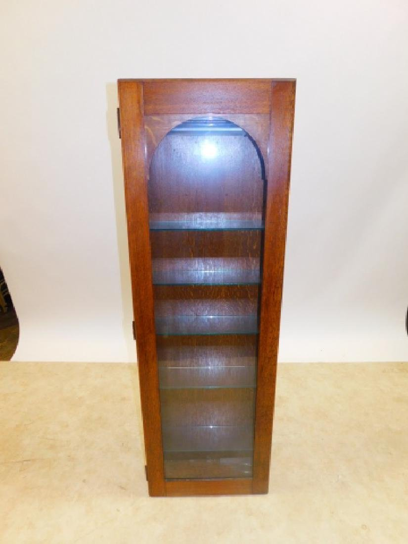 TALL OAK GLASS SHELF DISPLAY CABINET