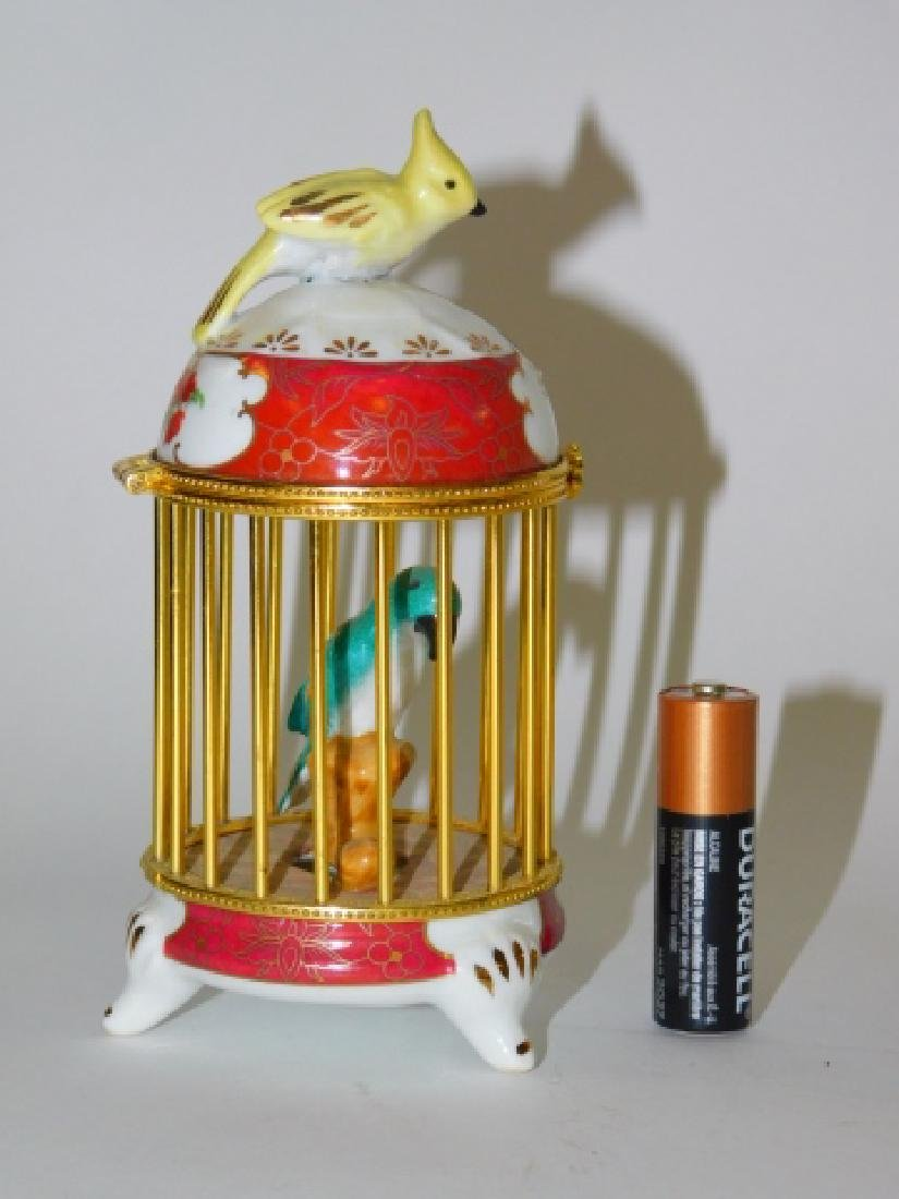 PORCELAIN AND BRASS FINISH BIRD CAGE BOX