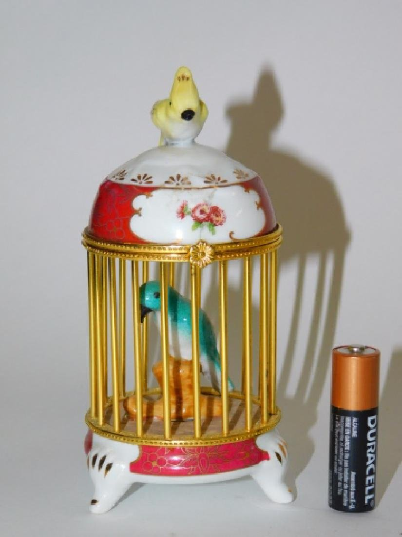 PORCELAIN AND BRASS FINISH BIRD CAGE BOX - 2