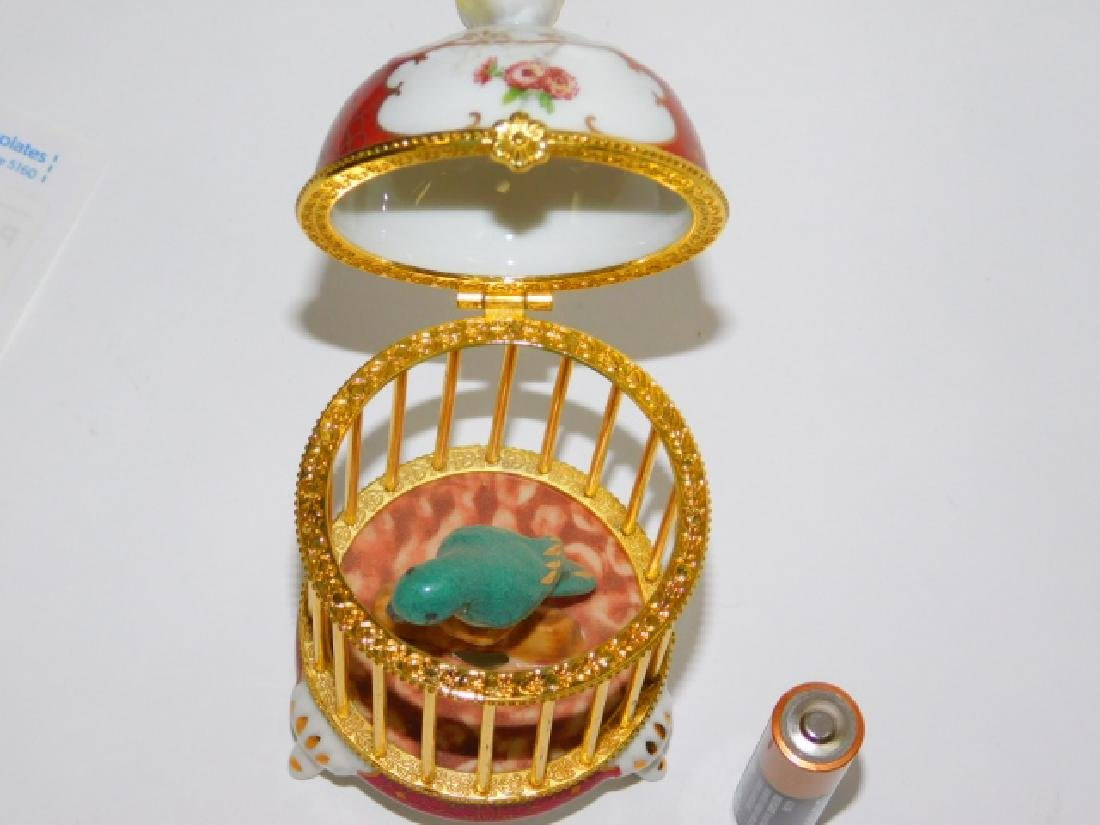 PORCELAIN AND BRASS FINISH BIRD CAGE BOX - 3